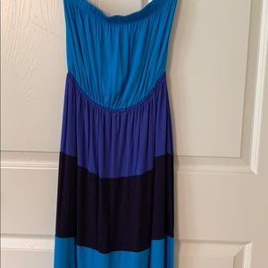 Blue and black maxi dress